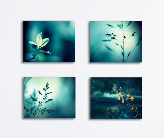 items similar to teal canvas print set nature dark aqua turquoise photography canvas gallery. Black Bedroom Furniture Sets. Home Design Ideas