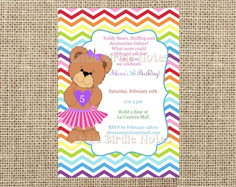 Teddy Bear Invitation-Build A Bear Birthday-Girl Birthday Invite-Casbury Lane