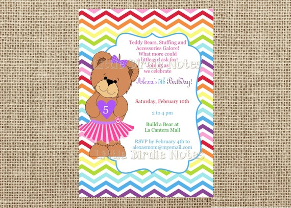 Items similar to Teddy Bear InvitationBuild A Bear BirthdayGirl – Build a Bear Invitations Birthday