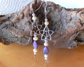 Fresh water pearl and purple jasper dangle earrings