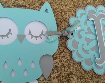 "Aqua and Gray Owl Baby Shower Banner.  ""It's Twins"", ""It's A Boy""  ""It's A Girl"" banner"