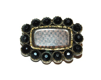 Antique 1810s Georgian Mourning Brooch w Woven Hair & Onyx