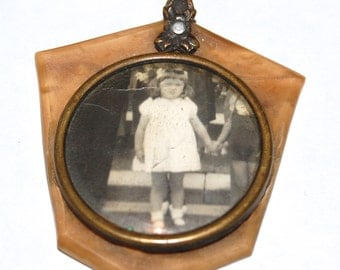 Unusual Vintage French Celluloid Portrait Pendant of Little Girl