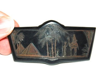 Rare 1920s Egyptian Motif Celluloid Buckle For Repurpose