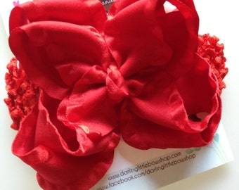 """Red Double Ruffle Bow and Headband -- Large Red Bow -- 5"""" Double Bow"""