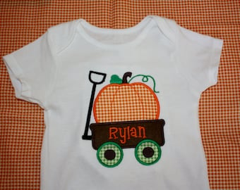 Boys Personalized Applique Fall Pumpkin Wagon Long/Short Sleeve onesie or tshirt