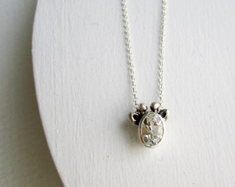 White Giraffe Necklace, White Topaz and Sterling Silver