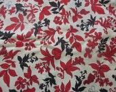Vintage Red Black Floral Linen Fabric