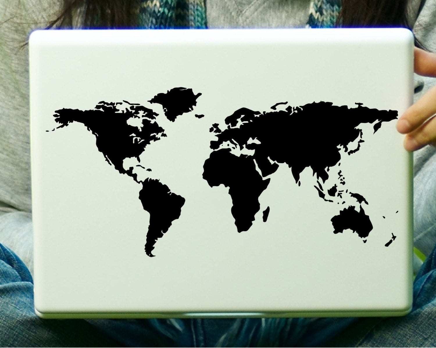 World map sticker for wall india - World Map Laptop Decal Ipad