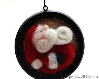 Christmas Decor - Santa Ornament - Felted Santa - Christmas Tree Decor