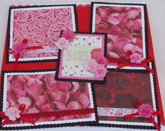 Valentines Day Perfect Rose Petals Love 12x12 Premade Scrapbook Page by KARI