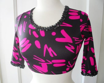 Spandex Crop Top Hot Pink and Black  Sequin Leotard Dance Top Club Kid 1990s