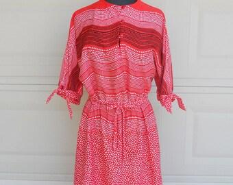 Vintage 70s Secretary Dress . KAY WINDSOR Belted Red and White Polka Dot Wave Dress Large