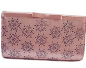 Pink satin hand block printed clutch bag flowers dots wedding party bridesmaid gifts