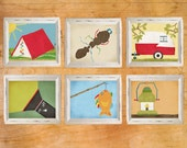 Camping Wall Art, Nursery Decor, Children's Wall Art, Boy's Room Decor, Camping, Set of six prints, Tent, Camper, Bugs, Lanterns, Fishing