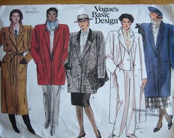 Vogue Basic Design Pattern 1446 Misses' Coat   1980's