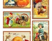 Vintage Victorian Thanksgiving  Images--instant digital download--turkey clipart turkeys pumpkins children holiday--(8.5 by 11 inches)   179