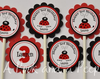 Personalized Lady Bug Cupcake Toppers Red and Black Personalized Birthday Shower Decoration