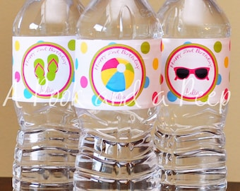 Bright Pink Blue Green Custom Beach Pool Party Summer Water Bottle Labels Personalized for Birthday Parties and Showers