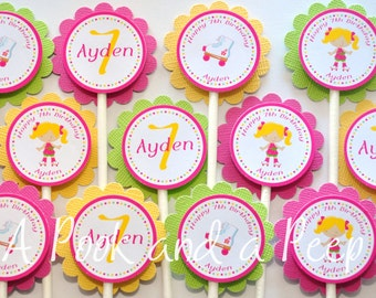 Roller Skate Pink Yellow and Green Personalized Birthday Cupcake Toppers Cupcake Picks