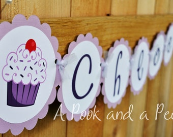 Purple Cupcake Personalized Happy Birthday Banner Customizable for Showers and Colors