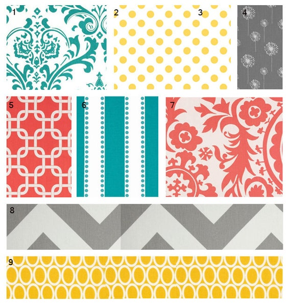 items similar to custom crib bedding coral turquoise grey and yellow baby bedding on etsy. Black Bedroom Furniture Sets. Home Design Ideas