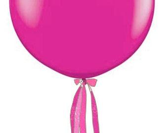 3 Foot Round Designer Jewel Magenta Balloon w/Tassel