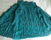 Handknitted chunky teal and black cable gilet hint of sparkle waistcoat L