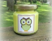 Owl Baby Shower Favor Candle, Owl Themed Shower Favor, Green Owl, Baby Shower Favor