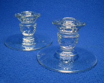 FOSTORIA AMERICAN candle holder pair - short with wide bases .