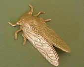 1-Large Cicada Bug Insect Brass Stamping Pendant Jewelry Findings.