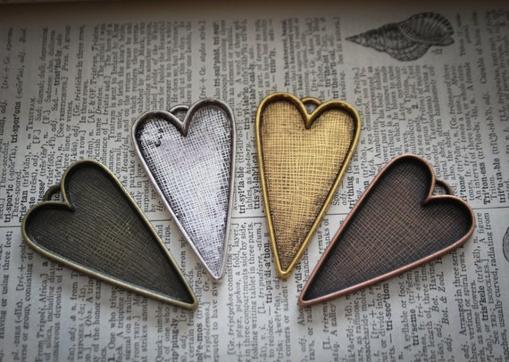 25 WHOLESALE Folk Heart shaped Photo pendant  Frame charms silver plated Lead and Nickel Free  53.5mm long, 30mm wide