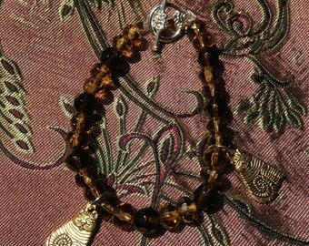 Gold Kitties-- Handmade Bracelet Featuring Cat Charms