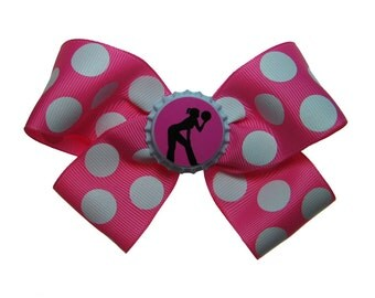 Bowling League Bowler Girl Hair Bow in Hot Pink Polka Dots