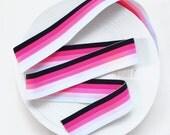 "2"" Solid Black & Pink Gradient Stripes Stretch Elastic Band"