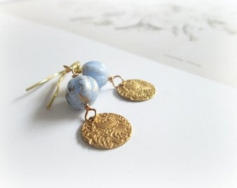 Blue Pumpkins earrings - Romantic drop  coin celestial aqua teal blue Czech glass gold golden filigrees Gift for her everyday simple jewelry