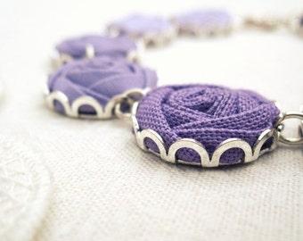 Purple Bridal Bracelet in Heliotrope, Lilac, Crocus & Plum Fabric Flowers