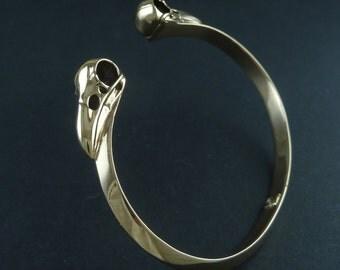 Raven Skull Cuff Bracelet - Bronze Bird Skull Bracelet