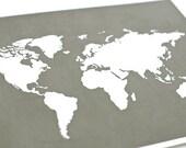 World Map Custom Art Print / Personalized Digital Print Wall Art / Nautical Set / Choose your Background / 8x10