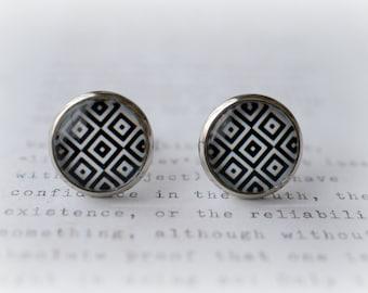 ON SALE  Black & White Squares Stud Earrings