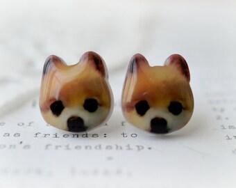 Resin Acrylic Pomeranian Stud Earrings