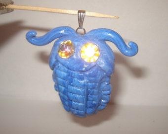 Blue trilobite prehistoric sea creature handmade pendant poly clay vintage rhinestone eyes