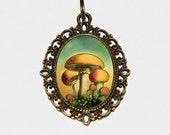 Mushroom Necklace, Mushrooms, Mushroom Jewelry, Oval Pendant