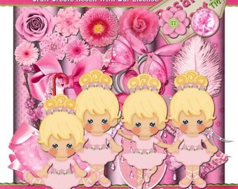 Lil Ballerina Pink Scrap Kit Clipart (Digital Download ZIP File)