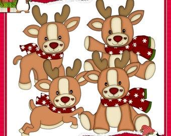 Christmas Reindeer Red Clipart (Digital Download)