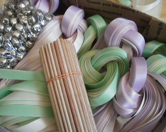 25 DIY Ribbon  Wedding wands , Listing for 25 Satin Ribbon Wands,  Two strands of ribbon your choice.  Gold or Silver bell.