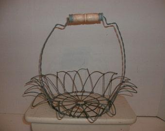 Vintage Rustic Wire Basket With Wood Handle
