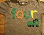 Garbage truck shirt, truck party, boy's Tee, Organic tshirt, Bys Birthday Shirt, garbage truck party green orange yellow truck birthday