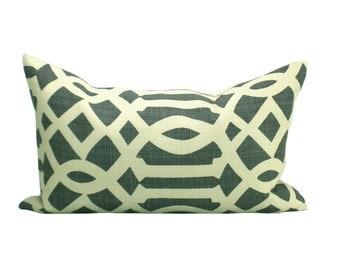 Imperial Trellis lumbar pillow cover in Midnight