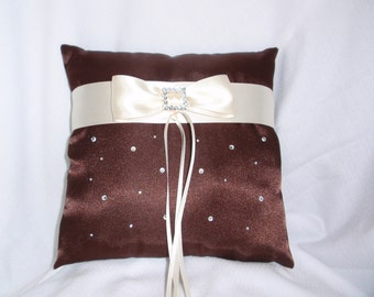Chocolate Brown Ivory Square Satin Ring Bearer Pillow Bow Rhinestone Rhinestones Wedding Bridal